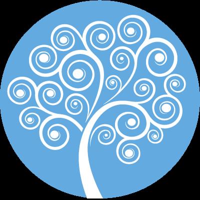 Rainbow Mind Tree Symbol - blue